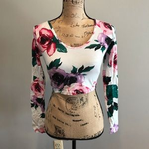 Truly Madly Deeply Sleeved White Floral Crop Top